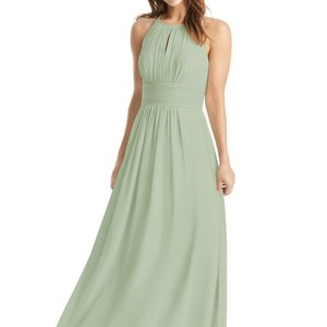 9d473d3c113 Azazie Dusty Sage Chiffon Bonnie Formal Bridesmaid Mob Dress Size 8 (M)