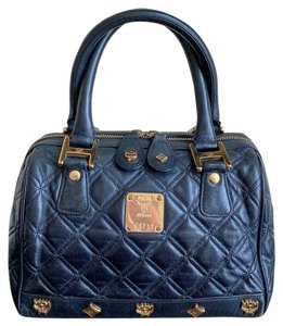 MCM Quilted Leather Studded Boston Satchel in Black