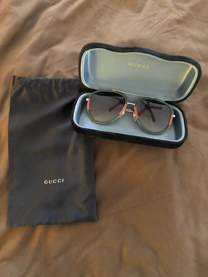 bf4c49dfa11 Gucci Green Red Aviator Metal with Case and Dustbag Sunglasses - Tradesy