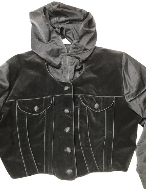Item - Black Velvet Mix with Poliamida Sleeves and Hood Removable Jacket Size 8 (M)