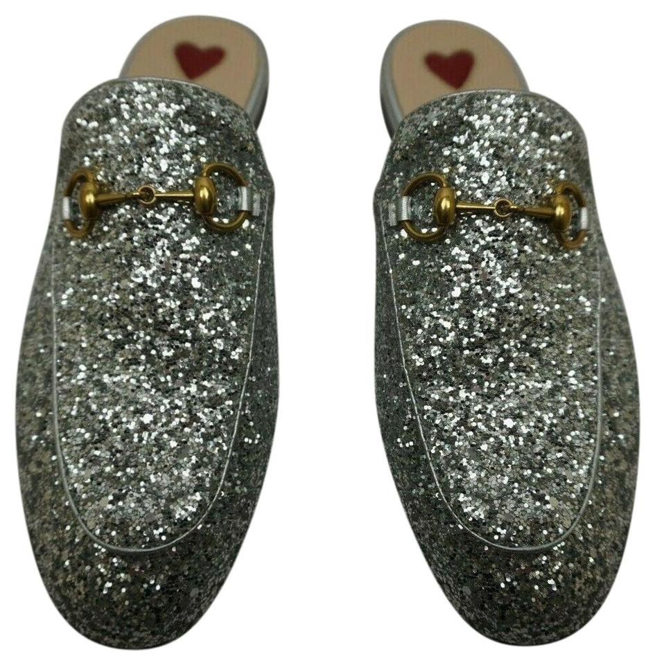 3138acbcc191a Gucci Silver Glitter Princetown Leather Women's Loafers Mules/Slides Size  EU 35 (Approx. US 5) Regular (M, B)