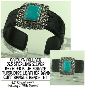Carolyn Pollack Carolyn Pollack 925 STER Silver Turquoise & Carved Leather Band Cuff Bangle