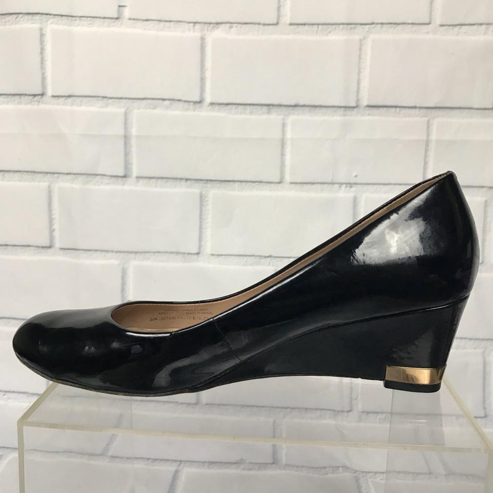 8bb5b8974 Tory Burch Black Astoria Patent Leather Wedges Size US 9 Regular (M ...