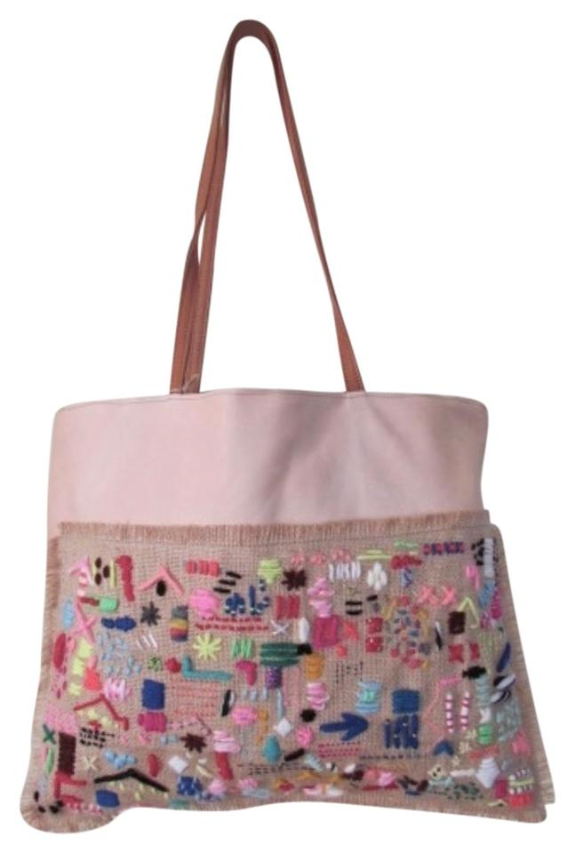 Bohemian Tote Handbag Neutral With Multicolor Embroidery Leather Shoulder Bag