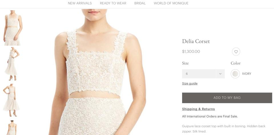 Monique Lhuillier Ivory Lace Delia Corset Top Sexy Wedding