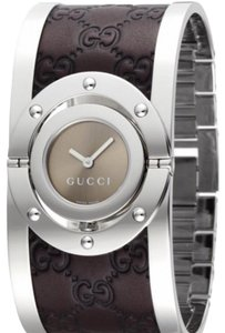 Gucci Women's Swiss Twirl Stainless Steel and Brown Leather Bangle Bracelet Watch 24mm