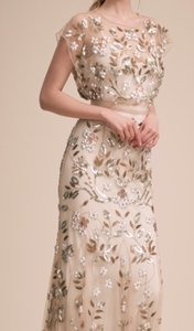 BHLDN Ivory Satin with Voile Overlay with Sequins and Embroidery Flourishing Vines Gown Nude/Ivory Formal Bridesmaid/Mob Dress Size 16 (XL, Plus 0x)