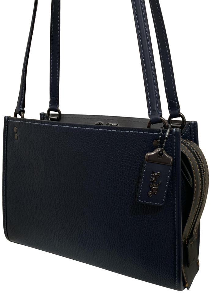 3ba6331be8 Coach 1941 Rogue 28484 Pebble Midnight Navy Blue Leather Shoulder Bag