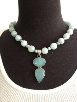 Agate Stone, Sterling Silver, Fresh Water Pearl