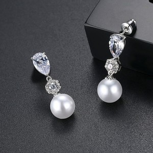 Silver/Pearl Pave Cz and Perfect Earrings