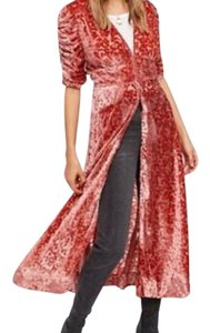 Coral Maxi Dress by Free People Duster Boho Bohemian Hippie Caftan