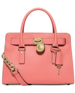 Michael Kors Mk Hamilton Hamilton Medium Saffiano Leather Mk Satchel in PINK GRAPEFRUIT/GOLD HARDWARE