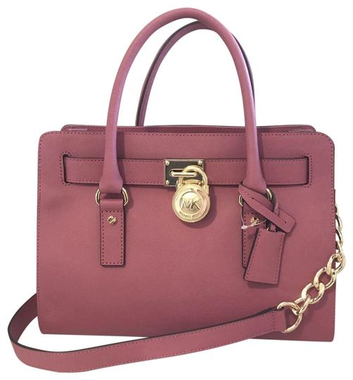 Preload https://img-static.tradesy.com/item/25090150/michael-kors-hamilton-east-west-medium-new-with-tags-pink-tulipgold-hardware-saffiano-leather-satche-0-1-540-540.jpg