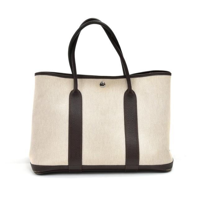 Item - Garden Party Pm Chocolate Brown Leather Handbag Beige Canvas Tote
