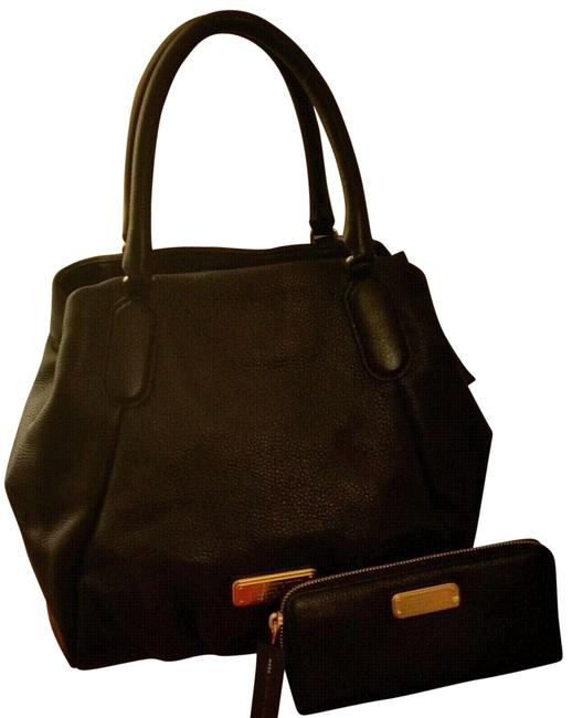 Item - 2 Pc New Q Fran Convertible & Wallet Set(New with Tags) Black/Gold Hardware Leather Tote