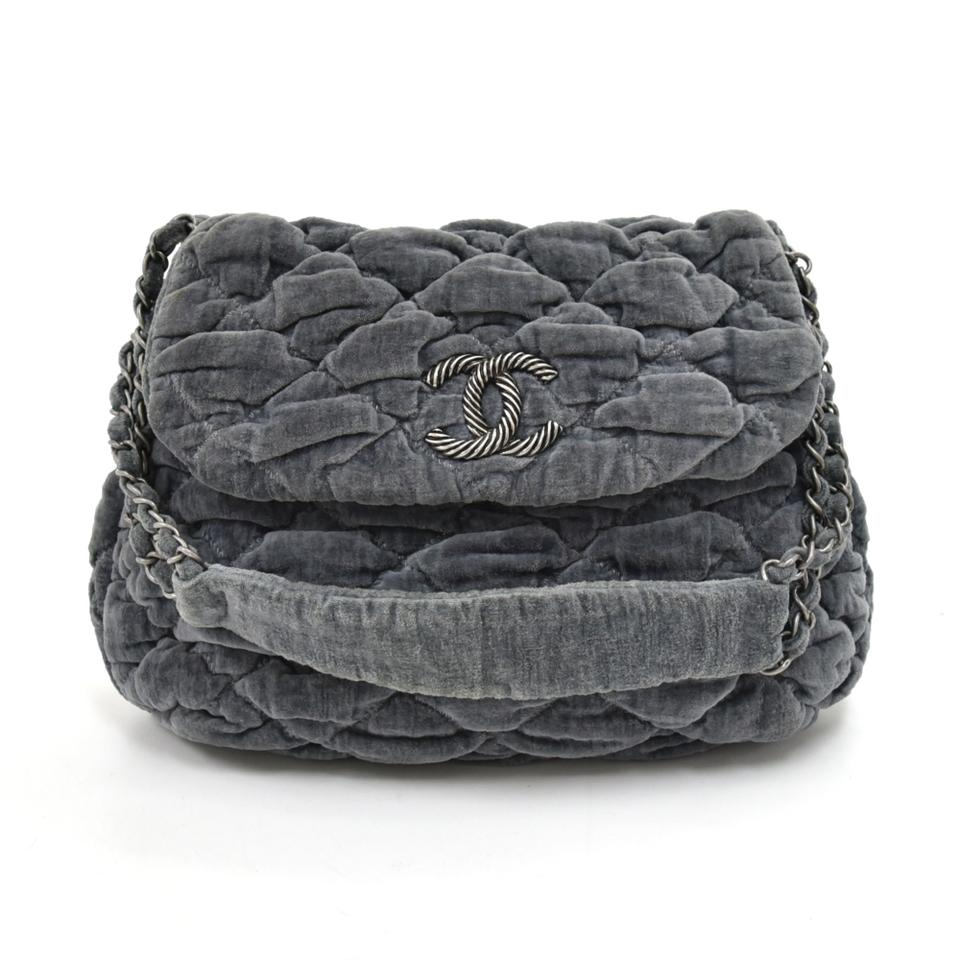 b6f9fe538701 Chanel Bubble Quilted -limited Ed Grey Velvet Shoulder Bag - Tradesy