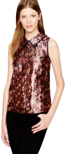 J.Crew Collection Metallic Jacquard Merigold Print Top J.Crew Collection Metallic Jacquard Merigold Print Top Image 1
