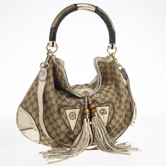 5e66ee7008f148 Gucci Indy Limited Edition Beige Gg Crest Patchwork Top Handle ...