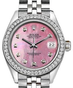 Rolex Rolex Silver and Pink 36mm Datejust with Diamond Mop Dial
