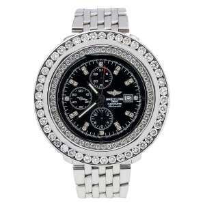 Breitling Breitling Navitimer World A24322 46MM Black Diamond Dial With 10.80 CT