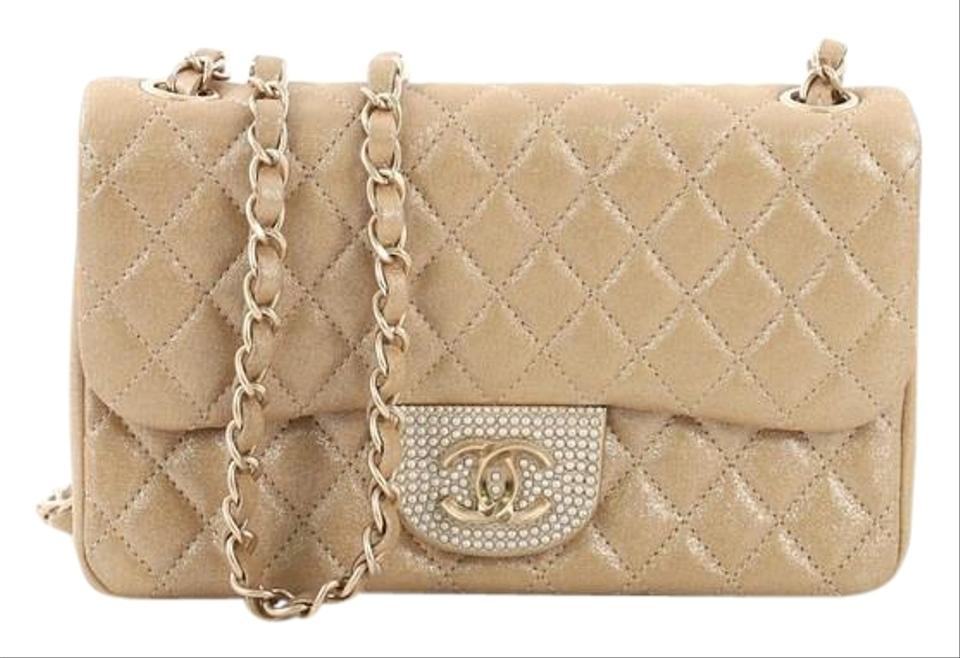1567d21bb0c66e Chanel Classic Flap Pearl Cc Crystal Quilted Iridescent Small Gold ...