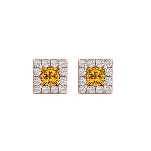 Marco B Square Citrine and CZ Halo Stud Earrings 14K Rose Gold