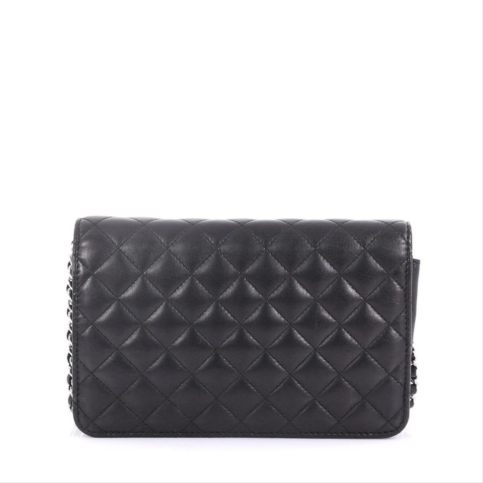 d398e5f40588 Chanel Wallet on Chain Diamond Cc Quilted Black Lambskin Shoulder ...