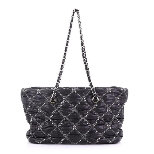 Chanel Tweed Nylon Tote in Black Image 3
