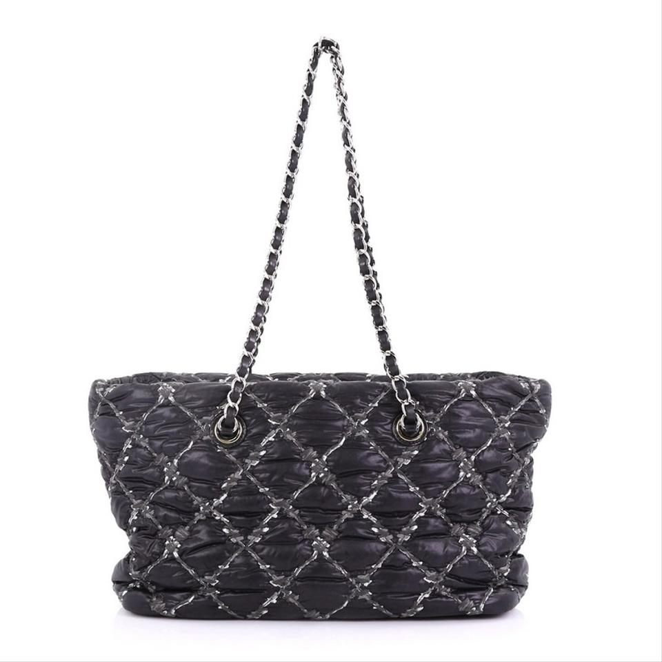 ba1fac7c0b21 Chanel Tweed On Stitch Zip Quilted Small Black Nylon Tote - Tradesy