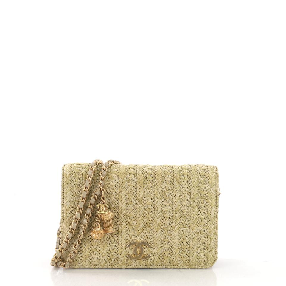 3fdda60be482 Chanel Light Gold Wallet on Chain Paris-athens Quilted Woven Raffia ...