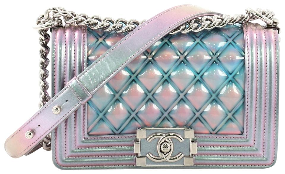 d944197f1011 Chanel Classic Flap Boy Quilted Holographic Small Light Purple and ...