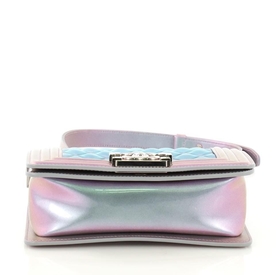 37cdc5344985d2 Chanel Classic Flap Boy Quilted Holographic Small Light Purple and Blue Pvc  Cross Body Bag - Tradesy