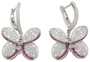 Graff Princess Butterfly Earrings With Diamonds And Pink And Purple Sapphire