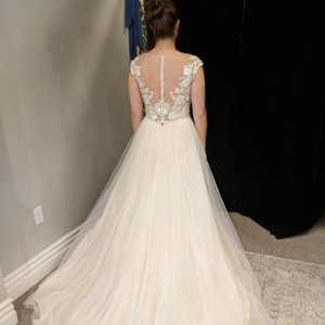 Maggie Sottero Blush Underlay with Ivory Tulle and Top. Sonja Feminine Wedding Dress Size 4 (S)