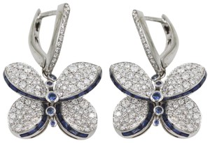 Graff Princess Butterfly Earrings With Diamonds And Light Blue Sapphire