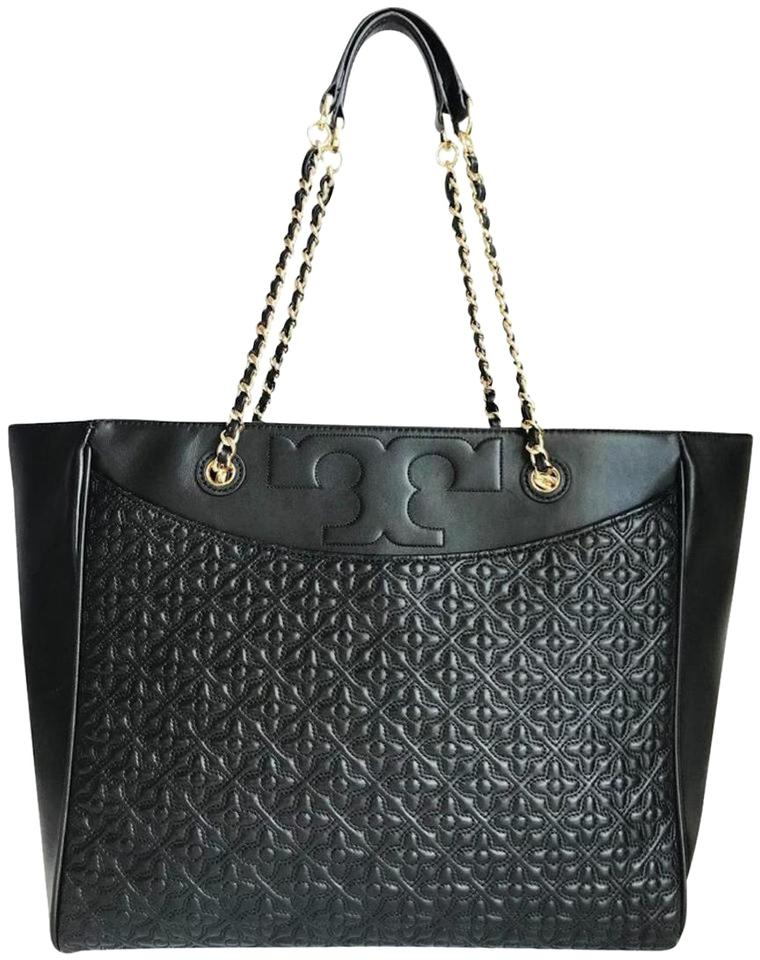 Tory Burch Shoulder Bag Bryant Quilted Black Leather Tote