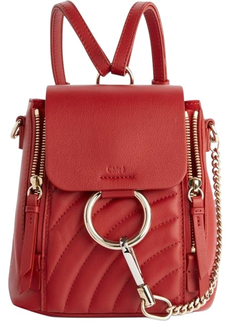 Item - Faye Mini Quilted Red Leather Backpack