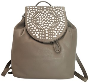 Vince Camuto Studded Silver Leather Zipper Backpack