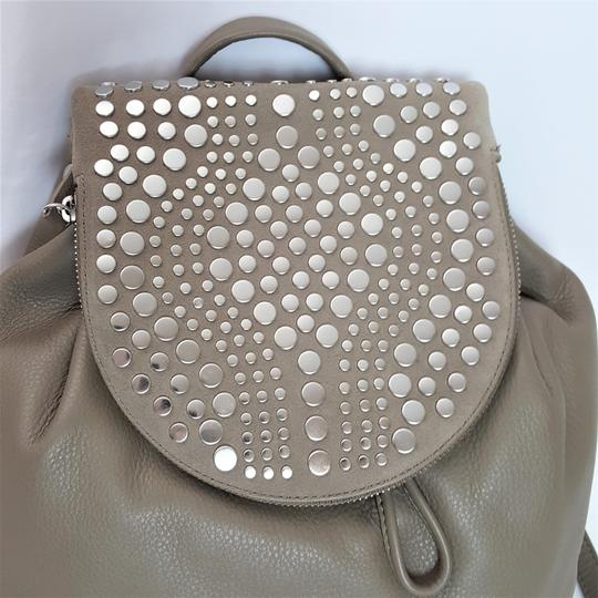 Vince Camuto Studded Silver Leather Zipper Backpack Image 5