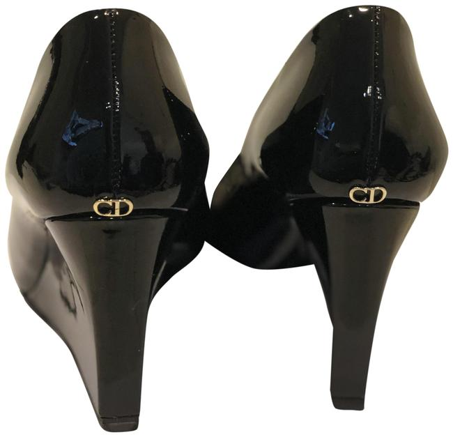 Item - Black Patent Leather Christian Pumps with Covered Heels Wedges Size US 6.5 Regular (M, B)