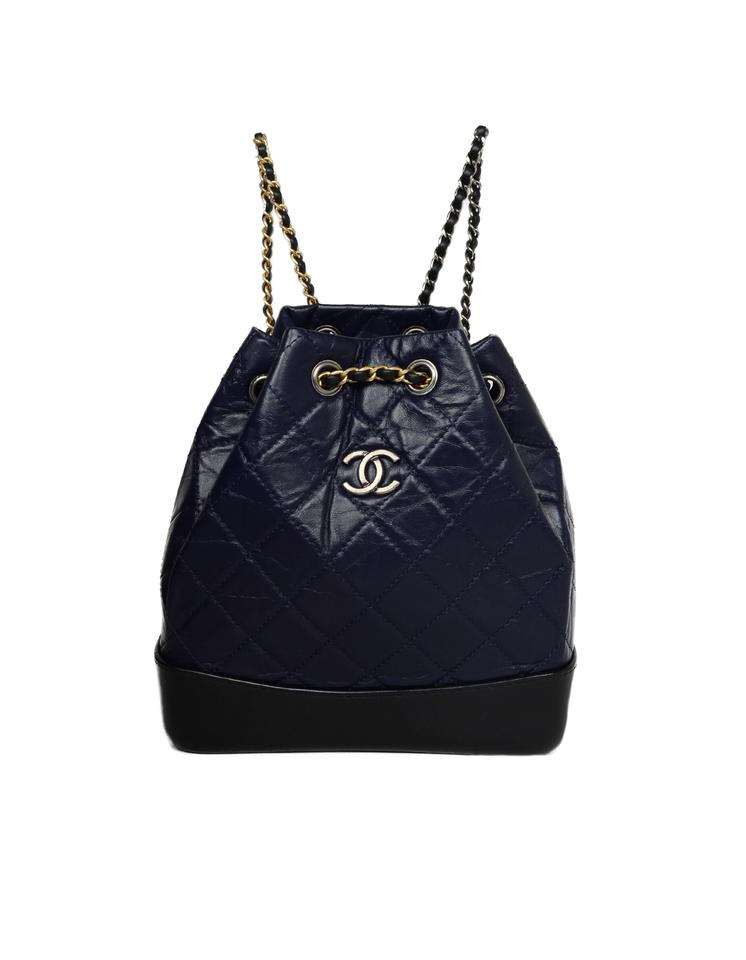 bf9f522e5b4155 Chanel Gabrielle Aged Quilted Mini Navy/Black Calfskin Leather ...