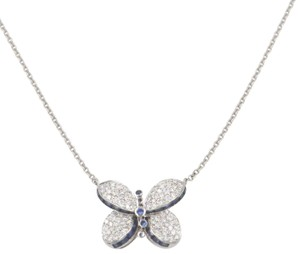 Graff Princess Butterfly Pendant with Pavé Diamonds and Light blue Sapphire