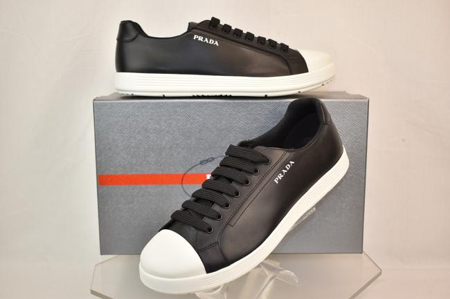 Item - Black Leather White Rubber Cap Toe Logo Low Top Sneakers 7 Us 8 Shoes