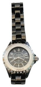 Chanel Chanel Black Ceramic Diamond Bezel Watch J12