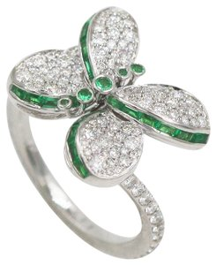 Graff Baby Prince Butterfly Ring with Diamond and Emeralds and round Emerald