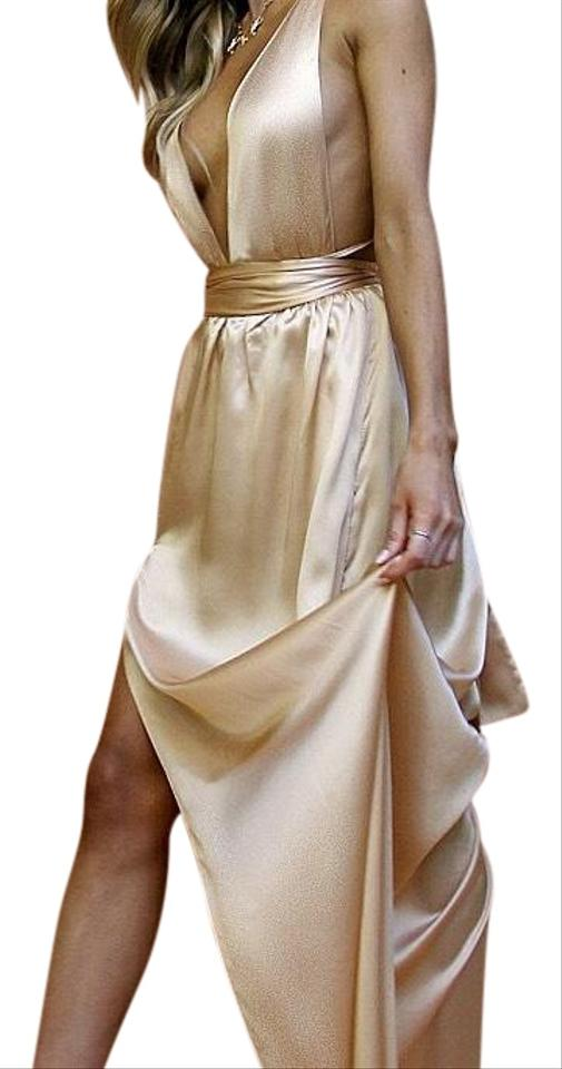 62c81f77686 Gold Satin Silk Champagne Multiway Gown Formal Dress. Size  4 (S) Length   Long ...