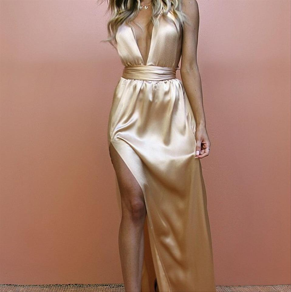 85753516070 Gold Satin Silk Champagne Multiway Gown Long Formal Dress Size 4 (S ...