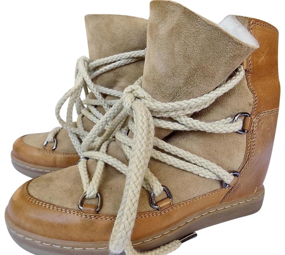 2c463ed9967 Étoile Isabel Marant Camel Shearling Nowles Lace Up Hidden Wedge Boots/ Booties