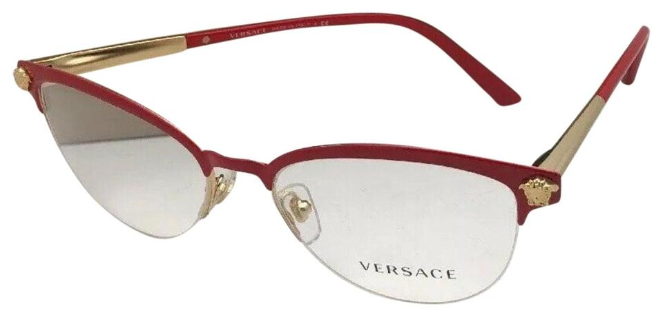 2a35f2acb938 Versace New VERSACE Eyeglasses 1235 1376 53-17 Red & Gold Cat Eye Semi  Rimless ...