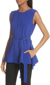 Theory Crepe Peplum Belted Top Cosmic Blue